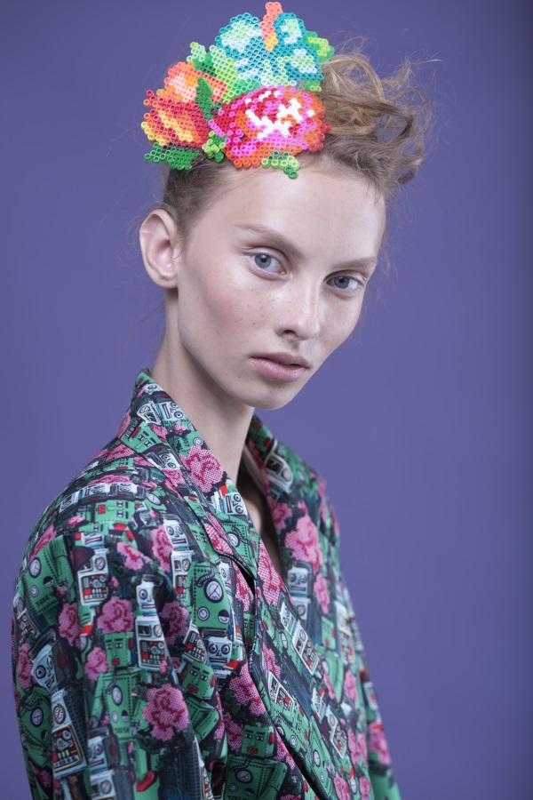 Perler beads head piece by Fashion designer Shahar Abergil - Milkey Magazine