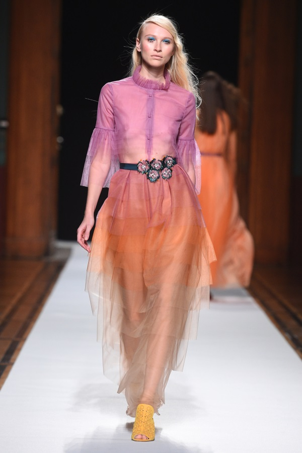 Talbot Runhof spring/summer 2018. twelve layer rose/orange/nude tulle top and skirt. photograph: imaxtree