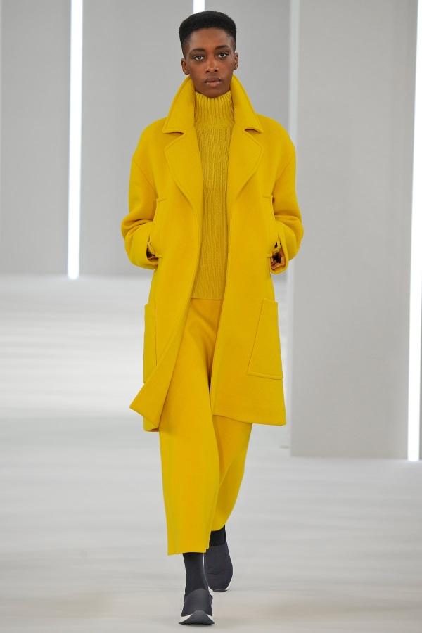 Jasper Conran AW18: Sulphur Yellow wool Overcoat, sulphur yellow A-line skirt, sulphur yellow ribbed funnel neck knit