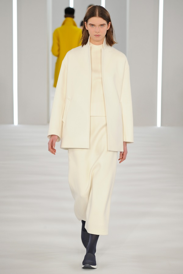 Jasper Conran AW18: White wool Crombie jacket, white wool pleat back skirt, white cashmere ribbed funnel neck knit