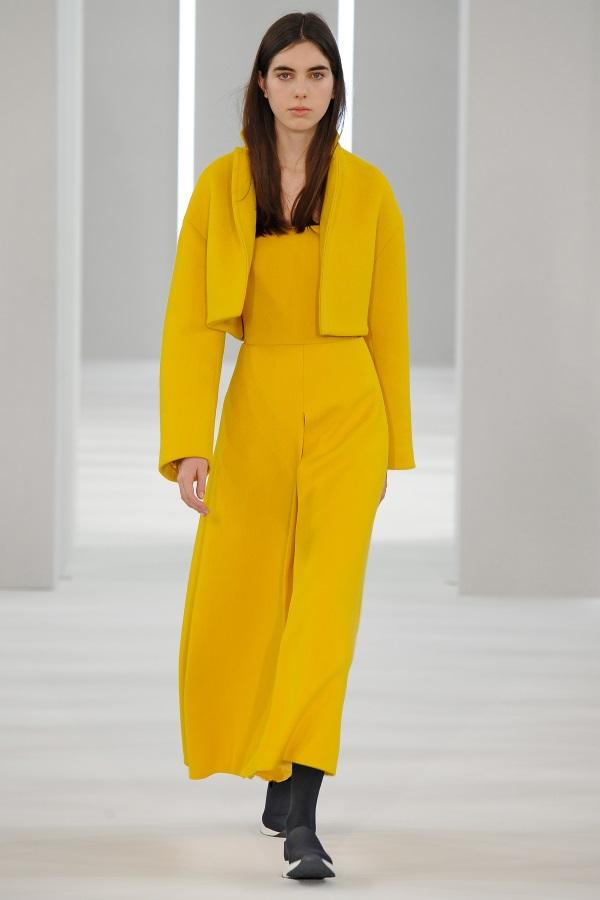 Jasper Conran AW18: Sulphur Yellow wool short jacket, sulphur yellow wool invert pleat bustier dress
