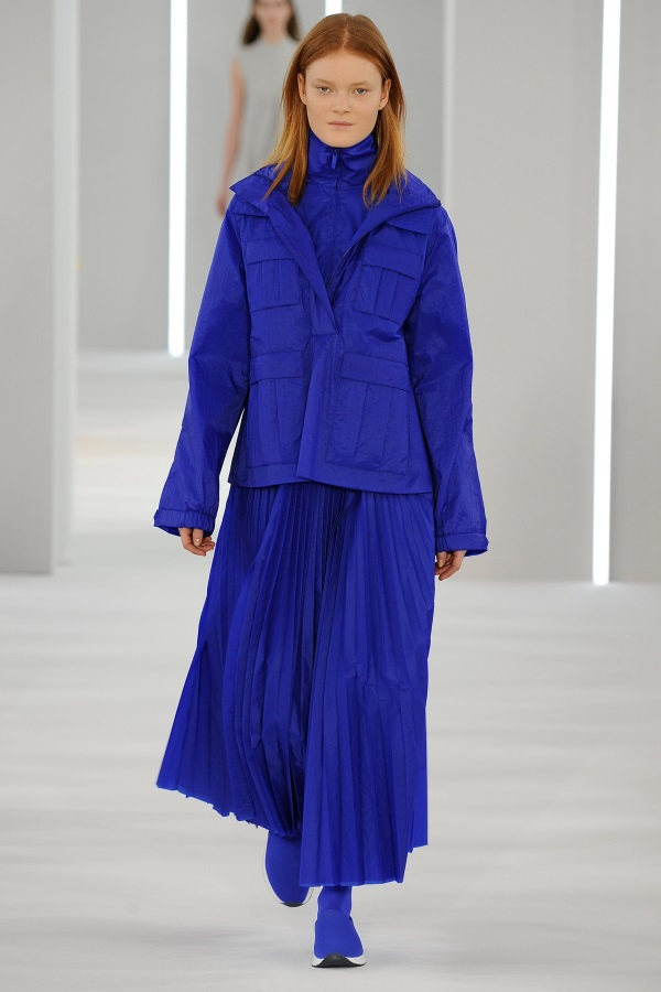 Jasper AW18: Ultramarine windproof smock, ultramarine funnel neck jacket, ultramarine sunray pleat skirt