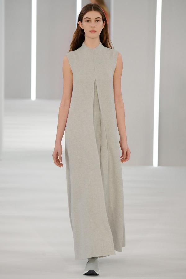 Jasper Conran AW18: Glacial Grey wool high neck invert pleat dress