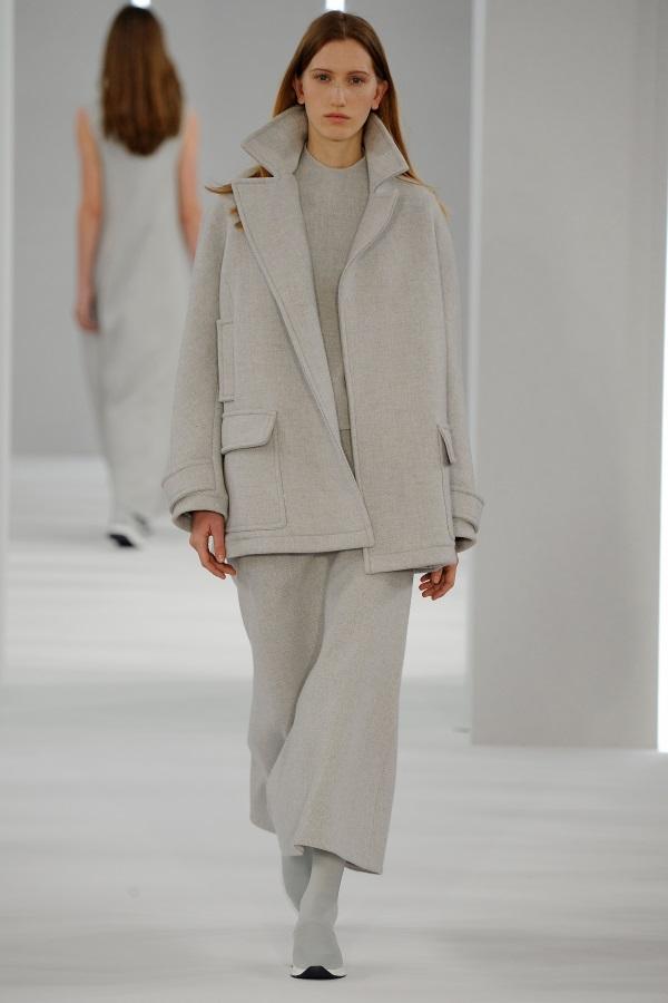 Jasper Conran AW18: Glacial Grey wool Car coat, glacial grey wool high neck dress