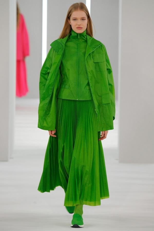 Jasper Conran AW18: Chlorophyll Green Tank jacket, chlorophyll green funnel neck jacket, chlorophyll green sunray pleat skirt