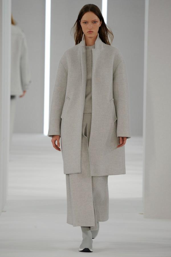 Jasper Conran AW18: Glacial Grey wool Crombie, glacial grey high neck top, glacial grey invert pleat skirt