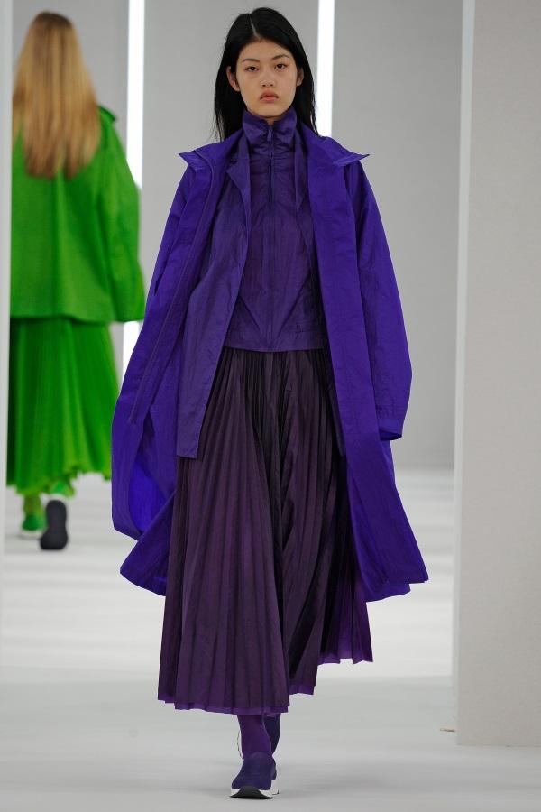 Ultraviolet Parka, purple Overcoat, purple funnel neck jacket, magenta silk skinny rib knit, purple sunray pleat skirt