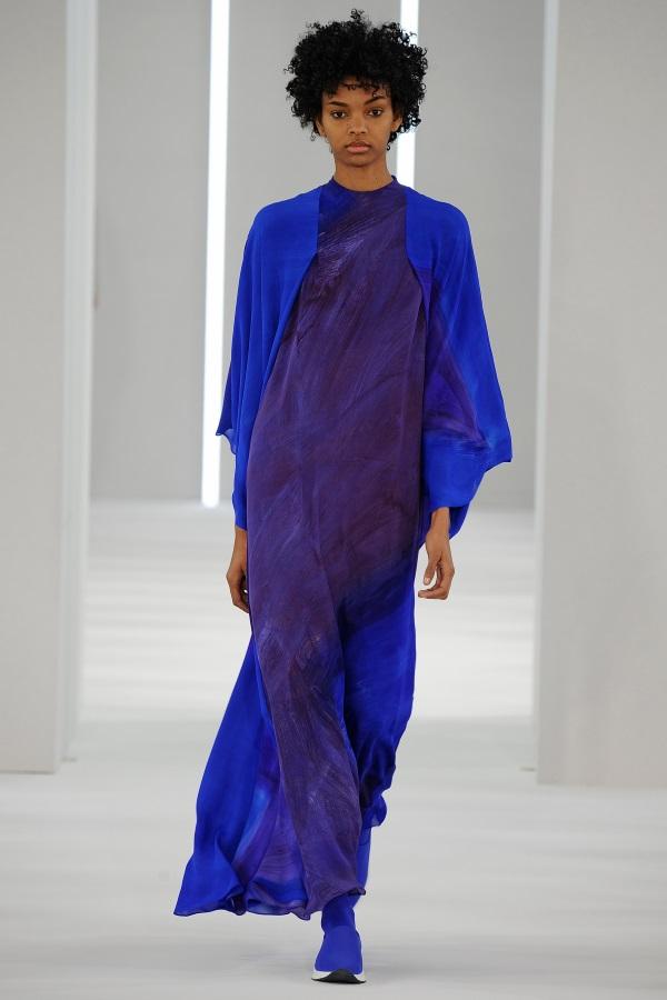 Jasper Conran AW18: Cobalt Violet silk georgette brushstroke print dress