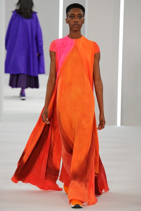 Jasper Conran AW18: Cadmium silk georgette brushstroke print dress