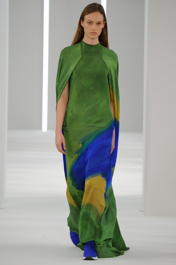 Jasper Conran AW18: Chromium silk georgette brushstroke print dress