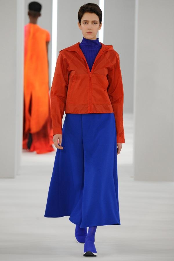Jasper Conran AW18: Blood Orange zip hooded jacket, cerulean blue wool crepe folded skirt, cerulean blue silk skinny rib knit