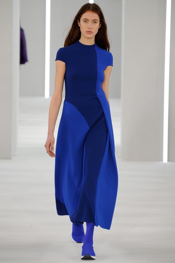 Jasper Conran AW18: Cerulean and petrol blue wool crepe cut and fold geometric dress