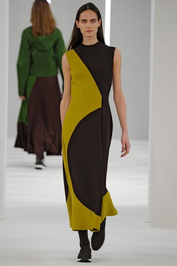 Jasper Conran AW18: Brown and Yellow Green wool crepe cut and fold geometric dress