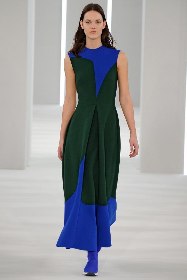 Jasper Conran AW18: Bright Blue and Green wool crepe cut and fold geometric dress