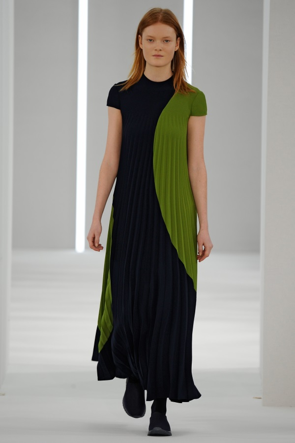 Jasper Conran AW18: Lime Green and Navy crepe cut out geometric pleat dress