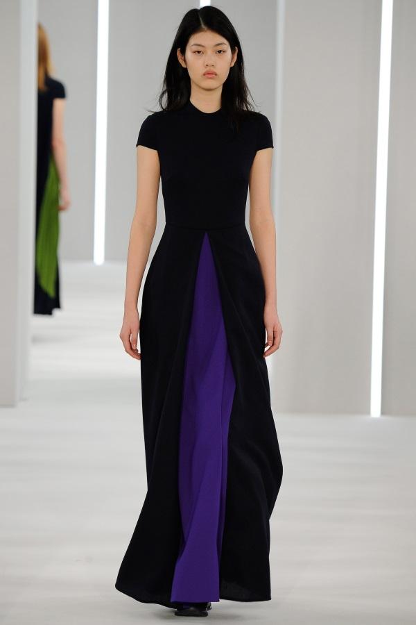 Jasper Conran AW18: Navy Blue and Ultramarine wool crepe panelled pleat dress