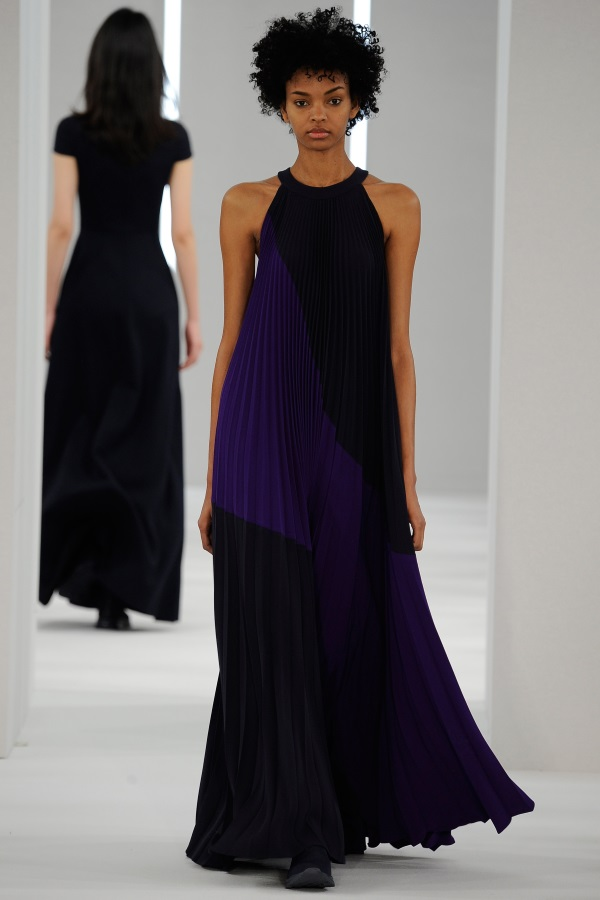 Jasper Conran AW18: Storm Blue and Violet panelled sunray pleat dress
