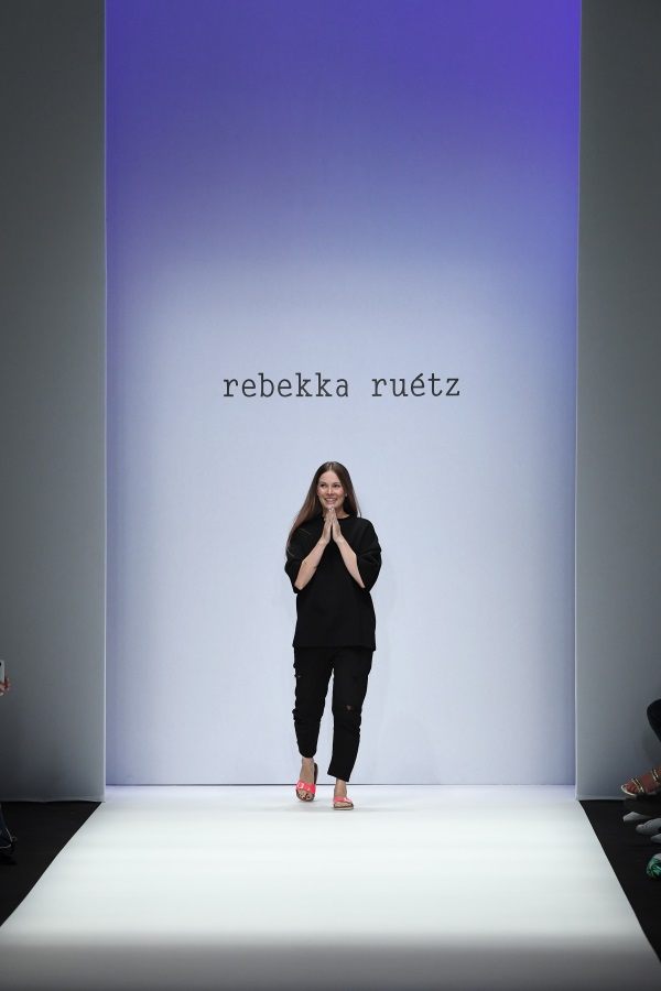 Designer Rebekka Ruetz at her show during the Berlin Fashion Week Spring/Summer 2019. Photograph: John Phillips/Getty Images