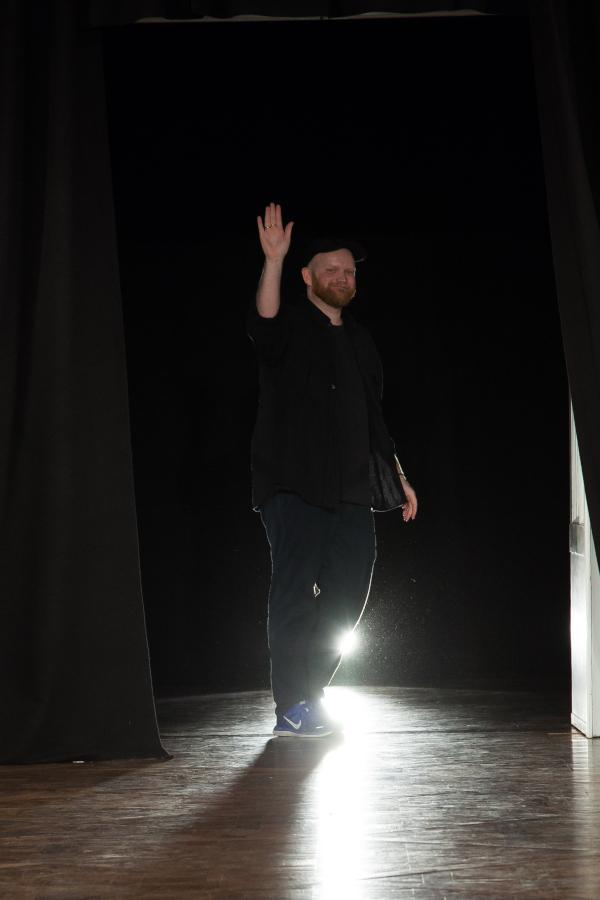 Designer Morten Ussing at his AW19 show. Copenhagen Fashion Week. Photograph: Jesper Bang-P. Thortzen